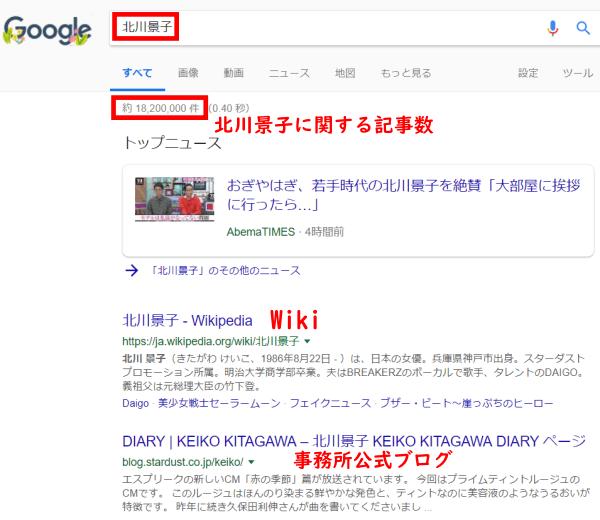 北川景子グーグル結果