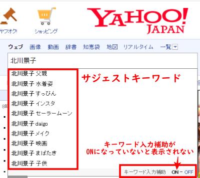 Yahoo!JAPANサジェストキーワード