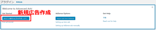 Advanced Ads初期画面